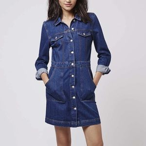 Dresses & Skirts - TOPSHOP moto denim dress